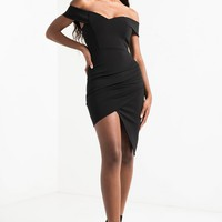 Off Shoulder Sweetheart Neckline Mini Dress with Side Ruching in Pink
