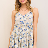 Floral Print Tiered Tank Top