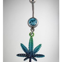 14 Gauge Silver and Blue Cz Leaf Dangle Belly Ring - Spencer's