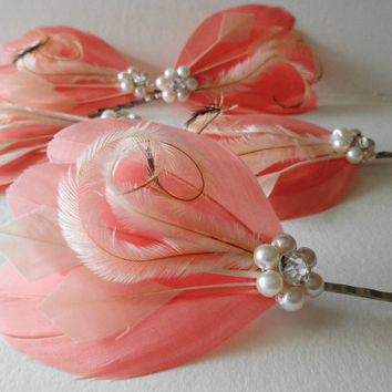5 Wedding Hair Pieces - Bridesmaid Set Feather Hair Pins Feather Fascinator Light Coral, Ivory