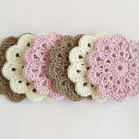 Soft cotton crochet coasters, set of 6 flower coasters in pastel colors, pink brown eco friendly drink coasters, wedding gift