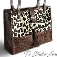 Cheetah Leopard Print Hair-on Leather Purse with Brown Floral Tooled Leather