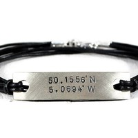 Custom Coordinates Personalized Tag Leather Bracelet.