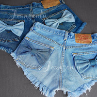 Bow shorts High waisted denim shorts Levis Hipster Tumblr Boho clothing Made To Order by Jeansonly