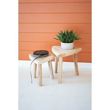 Set Of Two Hand Carved Wooden Triangle Top Stools