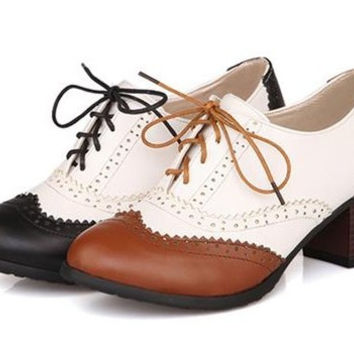 Spring Vintage High-Heeled Shoes Coarse Plus Size British Style Oxfords For Women All-Match Shoes 35-43 Alternative Measures