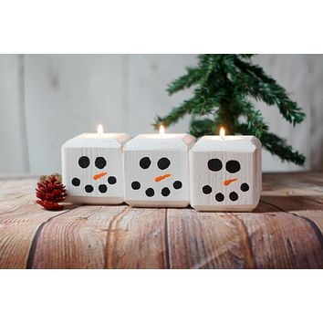 Christmas Snowman Candles, Holiday Candles