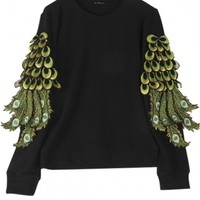 Peacock feather Embroidery Round Neck Long Sleeve Sweatshirt