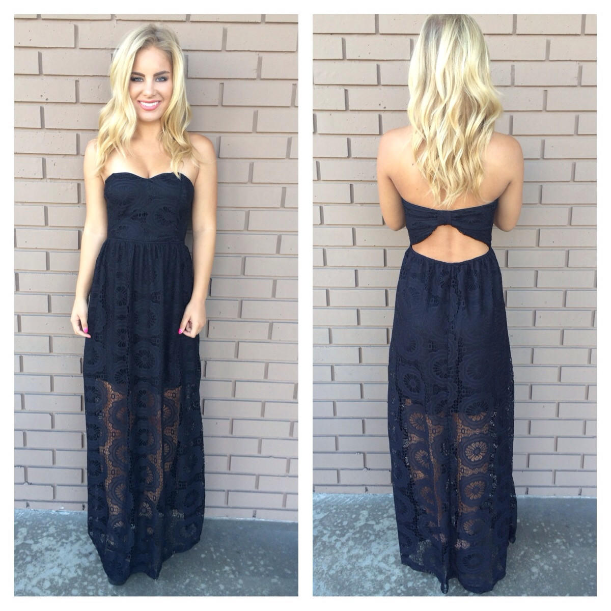 Image of Black Doylee Lace Maxi Strapless Dress