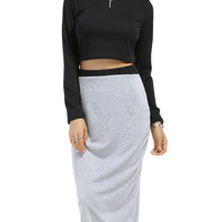 Round Neck Long Sleeve Solid Color Crop Top + Spliced Skirt Twinset