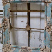 Large frame painted blue and cream very distressed gold accents shabby chic wall home decor anita spero