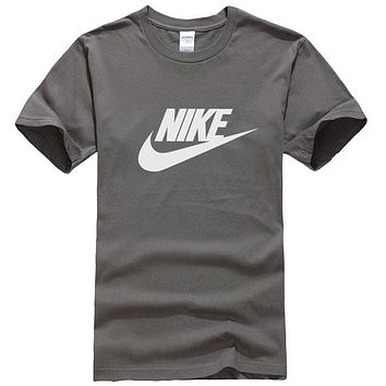 NIKE Summer New Fashion Letter Hook Print Women Men Leisure Top T-Shirt Dark Gray