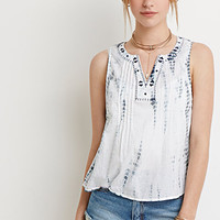 Embroidered Tie-Dye Top
