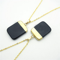 Onyx Square Stone Necklace in Gold by Black Bones Jewellery