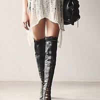 Jeffrey Campbell + Free People Womens Palazzo Thigh High Heel