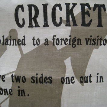 Ulster Irish Linen Tea Towel Cricket Game How to Play Cricket Barware Sports Souvenir Mancave Barware Craft Fabric Material UNUSED