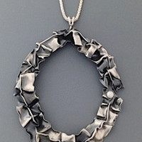 Lynn Costello- Open Oval Fold Form Sterling Silver and Pearl Necklace