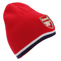 Arsenal FC Official Soccer/Football Crest Reversible Knitted Winter Beanie Hat (One Size) (Red/Navy)