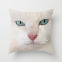 WHITE DELIGHT Throw Pillow by Catspaws