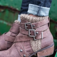 Take Me Out Knitted Strap Buckle Boots (Taupe)