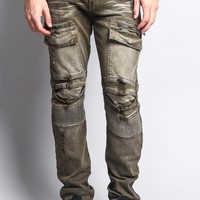 Faded Zipper Cut Cargo Pocket Biker Jeans