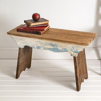 Wooden Scalloped Bench