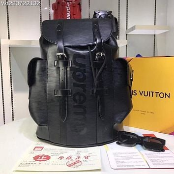 LV Louis Vuitton OFFICE QUALITY  SUPREME MEN'S EPI LEATHER Christopher BACKPACK BAG