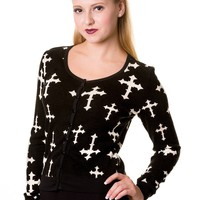 Goth Rockabilly Cross Pattern Black knit Cardigan