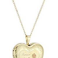 "Gold Plated Silver ""Forever in My Heart"" Heart Locket Pendant Necklace, 18"""