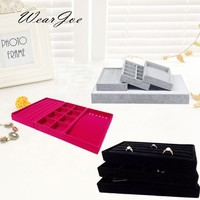 Free Shipping 3pcs Jewellery And Trinkets Display Storage Portable Tray Travel Case Organizer Set Jewelry Carrying Velvet Holder