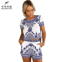Fashion Rompers womens jumpsuit 2016 Plus size summer sexy bodycon jumpsuit macacao feminino women two piece outfits shorts set