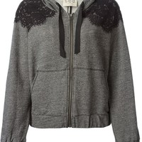 Sea lace panel zipped hoodie