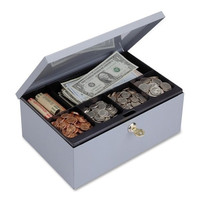 "mmf industries cash box, w/lock, deluxe,11-1/4""x7-1/2""x4-3/8"", gray"
