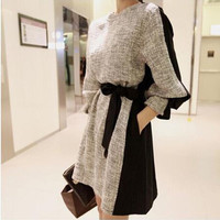Long Sleeve Dresses Was Thin Knitted Women Casual Dress