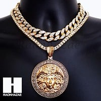 Hip Hop Premium Round Medusa Miami Cuban Choker Tennis Chain Necklace C