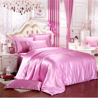 New Luxury Silk Bedding Set Linens Tencel Satin Bed Sheet Set Bedclothes Queen King SUPERKING Size Bed cover Winter Keep Warm