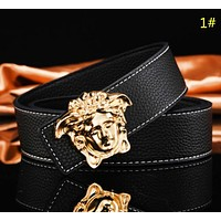 Versace & Hermes Fashion New H Human Head Leather Women Men Leisure Belt 1#