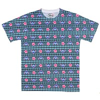 Disney Lilo And Stitch T Shirt Men's T-Shirt Allover Floral Tattoo Pattern