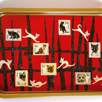 Soviet Enamel Tray Table, Polish Enamel Dish Serving Tray, Red Black Gold Tray Tin tray Soviet Enamelware, Cats Stamps 90's Rare collectible