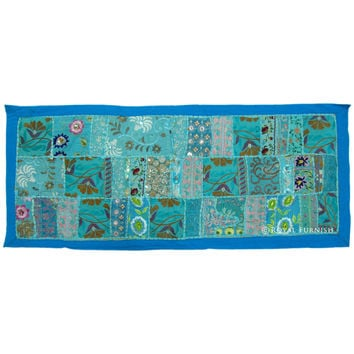 Blue Antique Recycled India Hand Sewn Patchwork Runner Tapestry