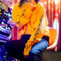 Letters OVERSIZE long section of the long sleeve sweater men and women Orange