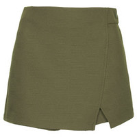 Textured Wrap Skort - Khaki