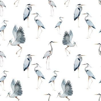 Japanese Heron Birds Multicolored Wallpaper Reusable Removable Accent Wall Interior Art (wal056)