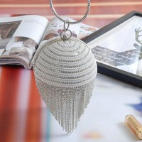 Diamond Tassel Pearl Beaded Clutch Bags Women Handbag Luxury Full Pearl Wedding Party Bags