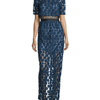 Self Portrait Floral Embroidered Popover Maxi Dress, Cobalt Blue/Black