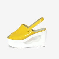 Vintage 70s Patent Leather Platforms / 1970s Shiny Yellow & White Cut-Out Wood Sandals Heels