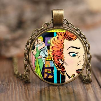Lonely Hearts Love and Romance Vintage Comics Pendant Necklace