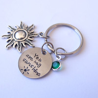 You are my Sunshine Keychain, You are my sunshine, sunshine jewelry, sunshine keychain, best friends, mother daughter, custom keychain, keychain