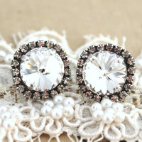 Bridal earrings Crystal earrings - silver plated oxidized  real Swarovski crystals.