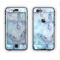 The Light Blue Butterfly Outline Apple iPhone 6 LifeProof Nuud Case Skin Set